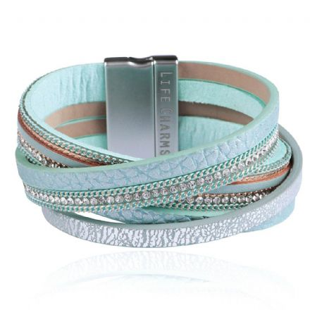 5 Crossed Row Turquoise Colour Wrap Bracelet